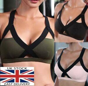 Women Sports Bra Cross Straps Running Workout Yoga Underwear Fitness 2021-UK