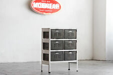 2 x 3 Vintage Locker Basket Unit Refinished in White and Natural Steel