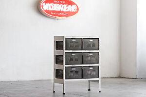 2 x 3 Vintage Locker Basket Unit Refinished in White and Natural Steel