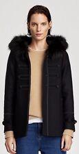 BNWT ZARA negro de lana abrigo con Capucha de Piel Sintética Talla XL UK 14