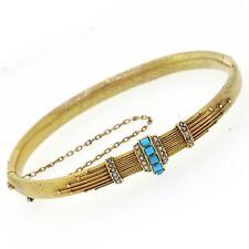 1870s Egyptian Revival Antique Victorian 14k Gold Turquoise Pearl Bracelet