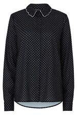 Polka Dot Collared Long Sleeve Tops & Blouses for Women