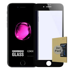 "2x 9H Hartglas iPhone 7 / 8 4,7"" HD Panzer Displayschutz Folie FullCover Schwarz"