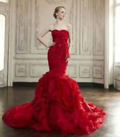 Red Ruffles Organza Strapless Mermaid Wedding Dress Bridal Gown Custom 4 6 8 10+