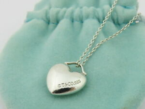 TIFFANY & CO Sterling Silver Small Puff Heart Pendant Necklace