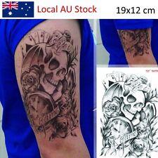 Trendy tattoo flower rose clock jewel death pirate skull tattoo sticker body art