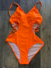 New listing Shein One Piece Cut Outs Bathing Swim Swimming Suit Neon Orange 1X Extra Large