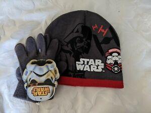 Star Wars Boys Hat & Gloves Set Grey/Red Darth Vader Storm Trooper Size 54 4-8yr