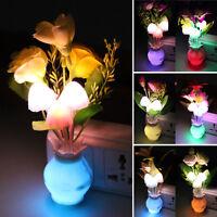 Lovely Rose Mushroom Home Decor Color Changing Sensor LED Nightlight Lamp Light