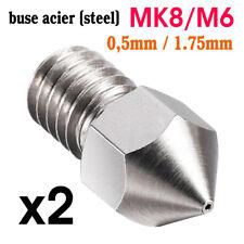 Lot x2 Buse 0.5mm ACIER Extrudeuse MK8 Filetage M6 Filament 1.75mm Imprimante 3D