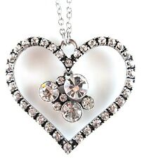 £30 Silver Clear Pave Heart Pendant Necklace Swarovski Elements Crystal Gift