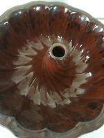 "Antique Manganese Glazed Redware Turk Head Food Pudding Pottery Mold 9.5"""