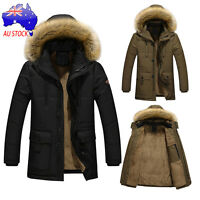 Mens Winter Warm Down Cotton Jacket Parka Fur Collar Slim Hooded Coat Outwear