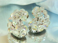 Extra Classy AB Crystal Super Fun Clip On Earrings WOWZA Vintage 50's 345a7