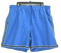 Saddlebred Sport Men XL Elastic Waist Mesh Lined Swim Beach Shorts Trunks Blue