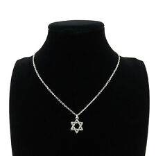 "Silver Star of David Jewish Pendant Short Chain Collar Necklace 18"" Religious"