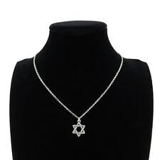 "Silver Star of David Jewish Pendant Short Chain Collar Necklace 18"" Religious"