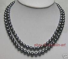 cadeau d'anniversaire ,7-8 mm , noir perle de culture ,collier ,82 cm
