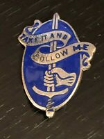 Vintage Collectible Military Take It and Follow Me Army Colorful Metal Pinback