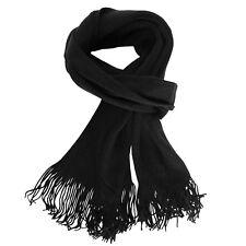 Bufanda Para Hombre Punto Negro Flecos Liso Un Color Pañuelo Unicolor Fular Top