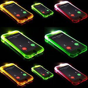 Transparent TPU Case Cover For Apple iPhone X 8 7 6s 5s LED Flashing Shockproof