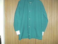 ladies size (m) hice green solid snap front long sleeve scrub top