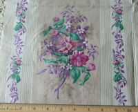 "Antique c1860 French Lovely Rose Chintz Manufacturer's Sample Fabric~20"" X 21.5"""