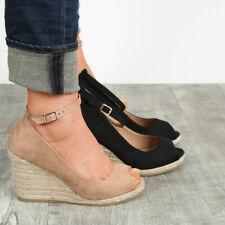 New Women Peep Toe Espadrille Wedge Heel Sandal Ankle Strap Low Platform