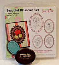 JustRite Stamps BEAUTIFUL BLOSSOMS border and centers NEW and Oval stamper block
