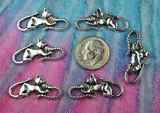6pc Cute Cat Connector Charm for Bracelet or Necklace Tibetan Silver Bulk Lots