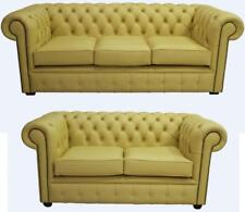 Chesterfield 3+2 Seater Shelly Deluca Yellow Leather Sofa Settee Suite