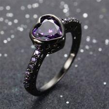 Fashion Purple Amethyst Heart Gem Wedding Ring Zircon 10Kt Black Gold Filled