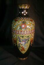 "LARGE 11+"" MEIJI Japanese Cloisonne & Ginbari Vase Gold Stone Phoenix Butterfly"