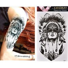 Waterproof Ancient Women Temporary Tattoo Large Arm Body Art Tattoos Sticker EF