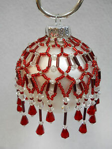 """PATTERN ONLY Beaded Christmas Ornament Cover Holiday Original """"Holiday"""""""