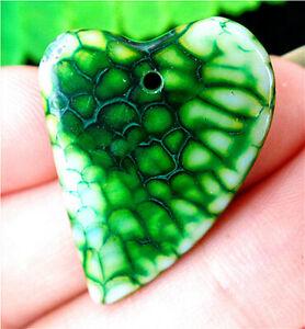 27x21x4mm Green Dragon Veins Agate Heart Pendant Bead AP57089