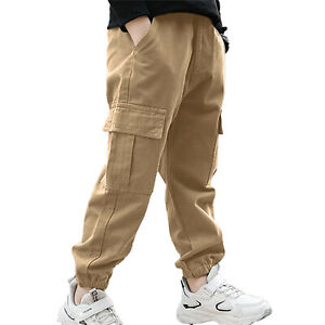 Kids Boys Elastic Waistband Cargo Dungarees Pants Sports Casual Jogger Trousers