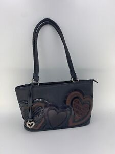 Brighton Vintage Small Hobo Purse Bag Brown With Hearts