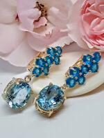 Natural Blue Topaz, Paraiba Blue Apatite 925 Sterling Silver Earrings