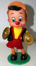 WALT DISNEY DANCING MUSICAL RUBBER FACE PINOCCHIO WIND UP W/CYMBAL WORKING