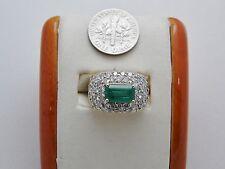 Cocktail 14k Massivem Gold Emerald-Diamond Ring Größe 6 + Exquisite May Geburt