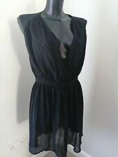 Miss selfridge Size 14 Black Chiffon Knee Length Dress