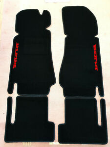 Black velours floormats for Fiat 124 Spider 1966-1985  with red Logo