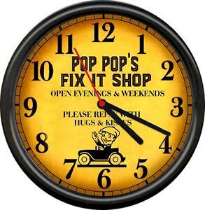 Pop Pop's Repair Fix It Shop Garage Repair Auto Garage Retro Sign Wall Clock