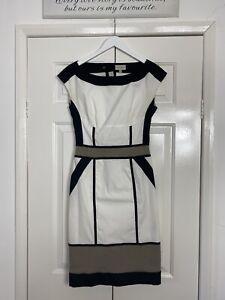 Karen Millen Dress UK 8 White Cream Black Colour Block Stretch Pencil Wiggle