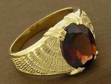 MR21 Solid 9K Gold Natural Large Garnet Ring Wings Feathers Biker Mens size 9