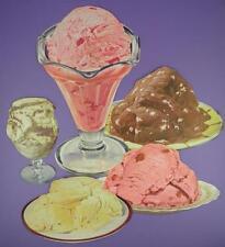 Original 1950s American Diner Paper Die Cut Signs - Ice Cream Desserts - Lot B