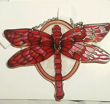 "joan baker hand painted stained glass  5x7"" red dragonfly thick glass suncatcher"