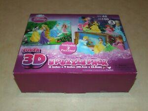 Disney Princess Super 3D Puzzle Pack - 3 Pack - New