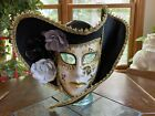 "Masquerade Ball Mask Hand Painted Mardi Gras ""Porcelain"" Mask Halloween Costume"